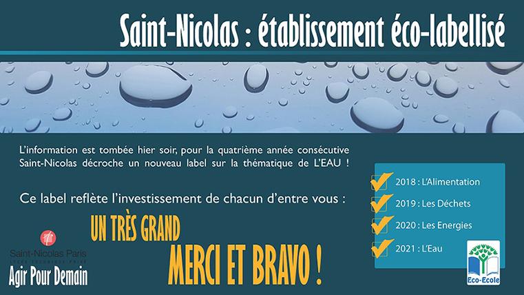 Saint-Nicolas éco-labellisé pour la 4ème année consécutive !